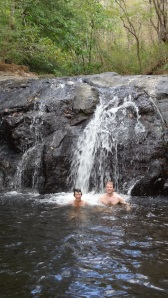 Enjoying a waterfall swim